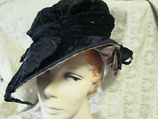 Vintage Edwardian Wide Brim Hat Black Velvet Rhinestone Tlc Asymetric Antique