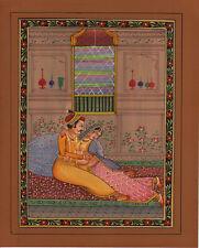 Mughal Miniature Artwork Handmade Moghul Harem Erotic Watercolor Paper Painting