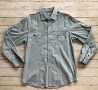 Black Brown 1826 Men's Sz Large Blue Long Sleeve Button Up Shirt  Safari Style