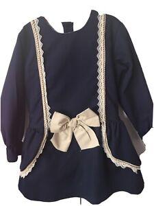 Navy Spanish Romany Style Dress Age 7