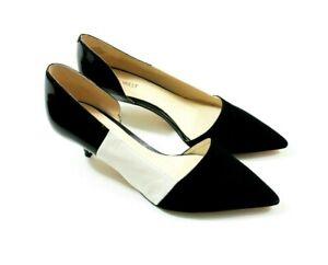 Kitten Heel Nine West Favella Pump Black and White D'Orsay Dress Heels Size 10.5