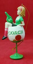 Coach Ornament Christmas Gift Green Wine Glass Resin Stocking Stuffer