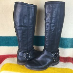 Frye Black Leather Phillip Back Zip Knee High Harness Riding Boots Sz 9 B 76850
