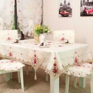Weiß Vintage Stickerei Spitze Tischdecke Mitteldecke Deckchen Hochzeit Tischdeko