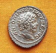 Ancient Roman Caracalla Denarius, aUNC