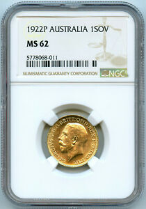 Australie George V Souverain or 1922 P Perth NGC MS 62