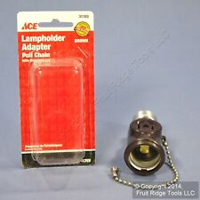 Ace Brown Lampholder Light Socket Adapter Pull Chain w/ Outlet Receptacle 31183