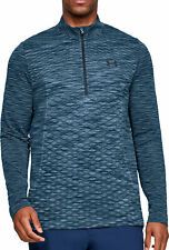 Under Armour Vanish Mens Training Top Blue Long Sleeve Half Zip Seamless Jersey