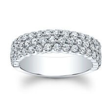 Real 1.50 Ct Moissanite Eternity Band Solid 14k White Gold Wedding Ring Size M K