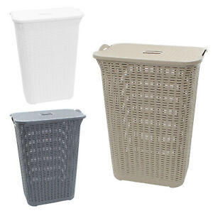 Laundry Washing Basket 75L Hamper Storage Linen Clothes Lid Rattan Style Plastic