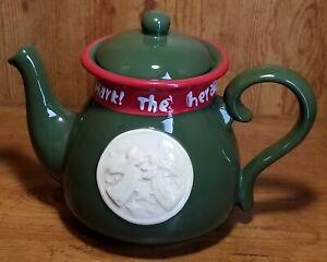 Burton+Burton Green & Red Ceramic Hark The Herald Angels Sing Teapot ~063777