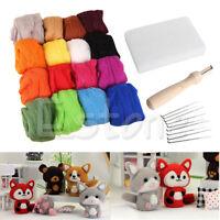 16 Colors Wool Felt + Needles Felt Tool Set Needle Felting Mat Starter 1 Kit
