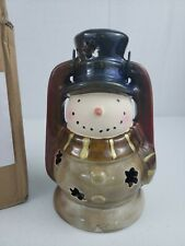 "Stoneware Snowman Lantern Light With Candle Scarf Handpainted Handle 10"" x 6"""