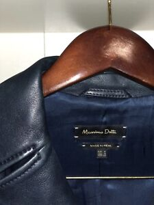 Massimo Dutti leather jacket - navy blue - size small