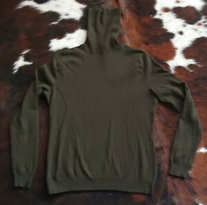 RALPH LAUREN Black Label 100% CASHMERE Forest Green Turtleneck Sweater SIZE L