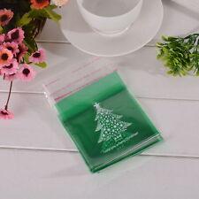 50 Sachets Sacs Pochettes Plastique Auto-Adhésif Cadeau Arbre de Noël Vert