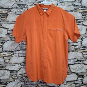 Columbia Mens Snap Button Vented Fishing Shirt XL Orange Omni-Wick Omni-Freeze