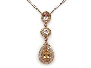18k White Gold 9ct Pink Yellow Blue Beryl Diamond Dangle Pendant Halo Necklace