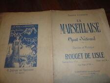 PARTITION CHANT PIANO LA MARSEILLAISE  ROUGET DE LISLE