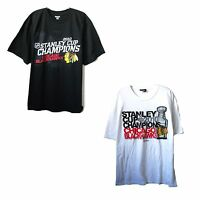 CHICAGO BLACKHAWKS NHL STANLEY CUP 2010 CHAMPIONS REEBOK T-SHIRT WHITE OR BLACK
