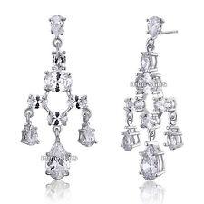 Bridal Wedding Pageant Chandelier CZ Cubic Zirconia Dangle Earrings XE590