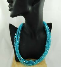 """Turquoise Seed Bead Necklace 21.5"""" - 280c FREE UK POST"""
