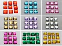 100 Acrylic Flatback Faceted Square Rhinestone Gems 12X12mm No Hole Pick Color
