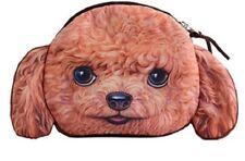 SOFT FURRY POODLE BROWN DOG COIN PURSE CHILDRENS KIDS BAG MAKEUP MAKE UP UK