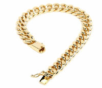 cf6b23180b8bd Men's 14K Yellow Gold Plated 9 Inches Chain Cuban Link Bracelet 8 mm ...