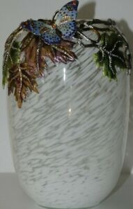$2495 NEW in Box JAY STRONGWATER BUTTERFLY ON MAPLE LEAF large VASE Flora