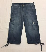 7 For All Mankind Denim Cropped Cargo Style Jeans With Cute Ties Sz 27 NWOT
