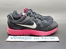 Girls Nike Lunar Forever Black White Pink Running 488275-001 PS sz 11C
