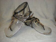 NEW DOLCE VITA DV SILVER BRAIDED TYPE SANDALS 6.5 SILVER TIP