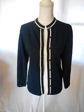 Talbott Travler Vtg 60s Button Front Cardigan Sweater Textured Navy White 34 S