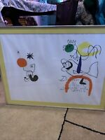 "Joan Miro 1974 framed original color lithograph 29x22"" Derrier Maeght Edition"
