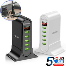 5 Ports Multi USB Charger Dock LED Display Phone Charging Station Hub Universal