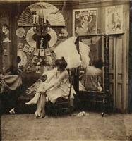 c. 1880's Woman Putting on Stockings Stereoview Albumen Unmounted Photograph