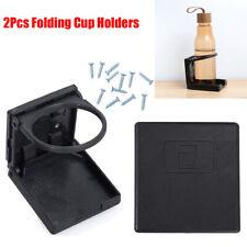 2Pcs Folding Cup Holder Less Than 75mm Drink Bracket Black Marine Boat Truck RV