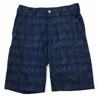 Adidas Men's Navy Blue Printed Flat Front Lightweight Stretch Shorts Sz 30