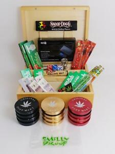 DELUXE GIFT SET MK2 LARGE WOODEN SMOKERS SMOKING ROLLING BOX GRINDER