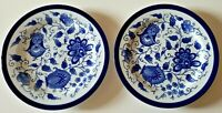 Set of TWO Bombay Dinner Plates Blue and White Asian Garden 10-3/4""
