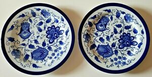 """Set of TWO Bombay Dinner Plates Blue and White Asian Garden 10-3/4"""""""