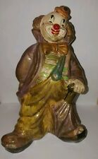 Vtg Ceramic Hobo Clown Coin Piggy Bank Figurine 8 1/4 Inches Tall Unsigned