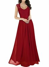 Long Chiffon Lace Evening Formal Party Ball Gown Prom Bridesmaids Maxi Dress UK