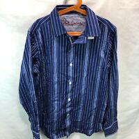 ROBERT GRAHAM Youth Large (14-16) Blue Striped Cotton Button Up Casual Shirt N21