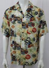 Walt Disney Short Sleeve Hawaiian Camp Shirt Mens L Mickey Pluto Skulls