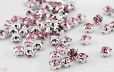 CraftbuddyUS100pcs 4.3mm Sew On Baby Pink Silver Set Glass Crystal Rhinestones