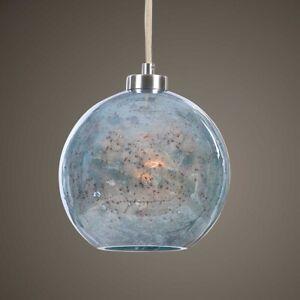 "GEMBLUE MODERN XXL 10"" BLUE AQUA STONE GLASS PENDANT LIGHT UTTERMOST"