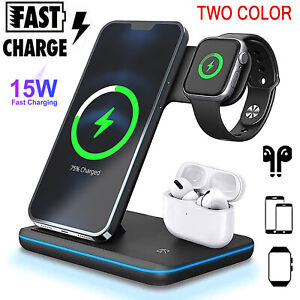 3in1 Wireless Fast Charger Charging Stand Station For iPhone 12 11 Pro Max XS XR
