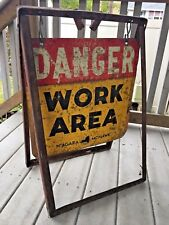 Vintage VTG Niagara Mohawk Metal Danger Work Area Hanging Sign Original Frame